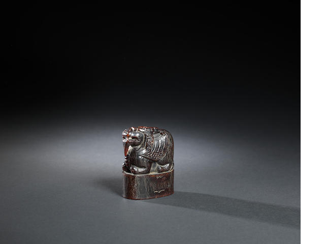 A buffalo horn 'mythical beast' seal Qing dynasty