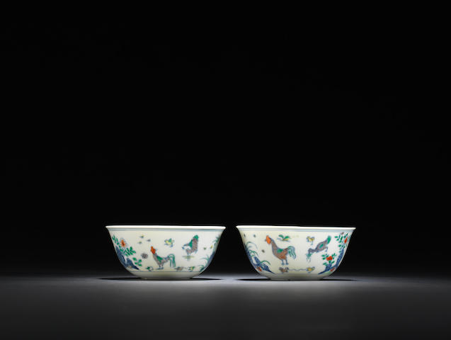 A pair of brilliantly enamelled doucai 'chicken' bowls Kangxi