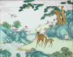 A rare famille-rose 'Hundred Deer' screen Qianlong