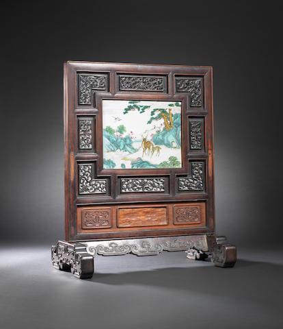 A rare famille-rose 'Hundred Deer' screen Qianlong