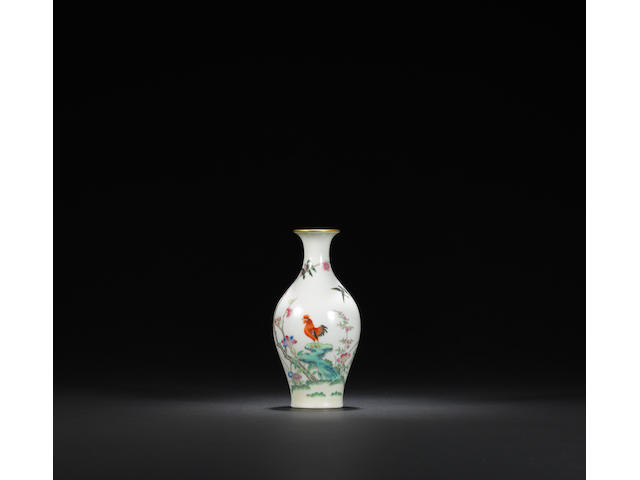 A rare famille-rose 'cockerel' vase Daoguang six-character seal mark and of the period