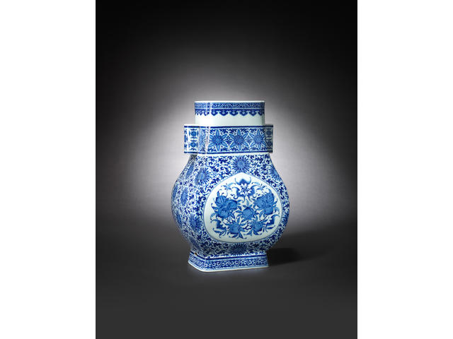A large and rare blue and white 'longevity' vase, fanghu Qianlong six-character seal mark and of the period