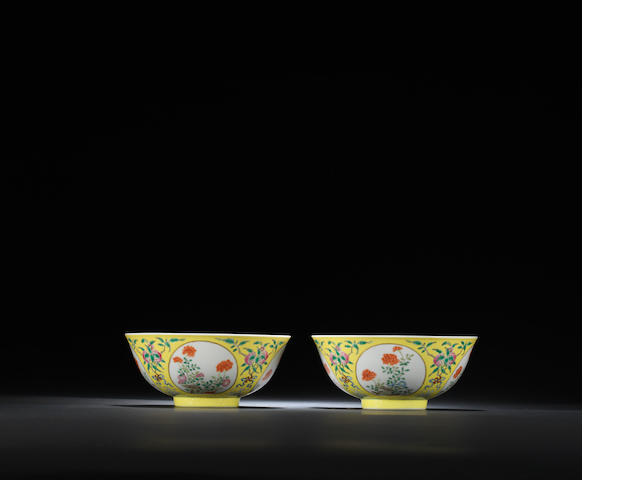A pair of yellow-ground famille-rose 'floral' medallion bowls Daoguang six-character seal marks and of the period