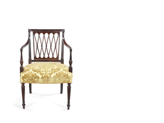 A large George III mahogany open armchair attributed to Gillows