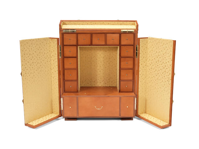 Jaeger-LeCoultre. A large sized leather covered hinged vanity case for an Atmos ClockCirca 1980