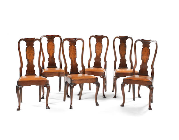 A set of six Irish George II walnut and inlaid side chairs