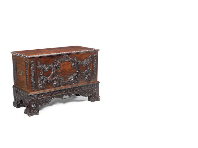 An Irish rococo style carved mahogany chest on stand