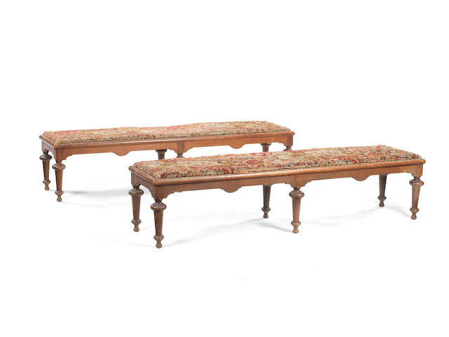 A pair of Victorian oak window seats