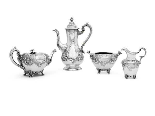 A Victorian three piece silver tea service with matched hot water pot and tray by J.Mackay, Edinburgh 1835/40