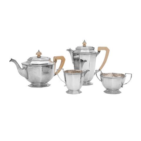 An Art Deco four piece silver tea service by Mappin & Webb, Sheffield 1937