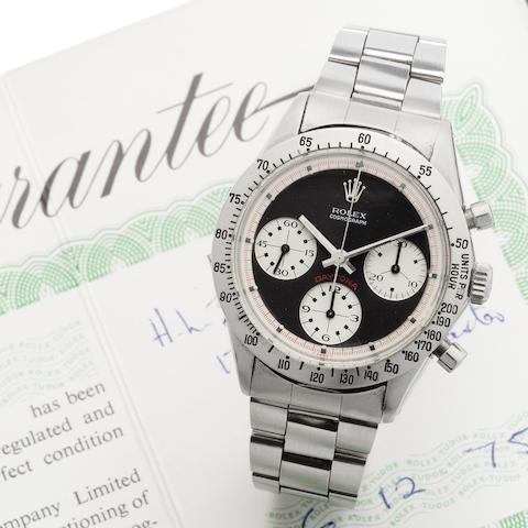 Rolex. A fine and rare stainless steel manual wind chronograph bracelet watch, together with original box and guaranteeCosmograph Daytona, Ref:6262, Serial No.273****, Made 1970, Sold 6th December 1975