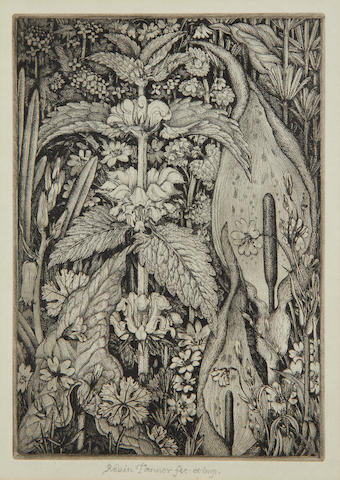 Robin Tanner (British, 1904-1988) Hedge Flowers Etching, 1977, on laid , signed, titled, dedicated 'For Grace & Cyril' and inscribed in pencil, printed at Old Chapel Field Press, with margins, 338 x 257mm (13 1/2 x 10 1/4in)(SH)