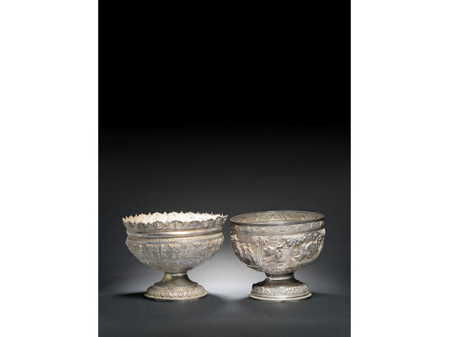 Two large repousse silver Punch bowls India and Burma, late 19th Century(2)