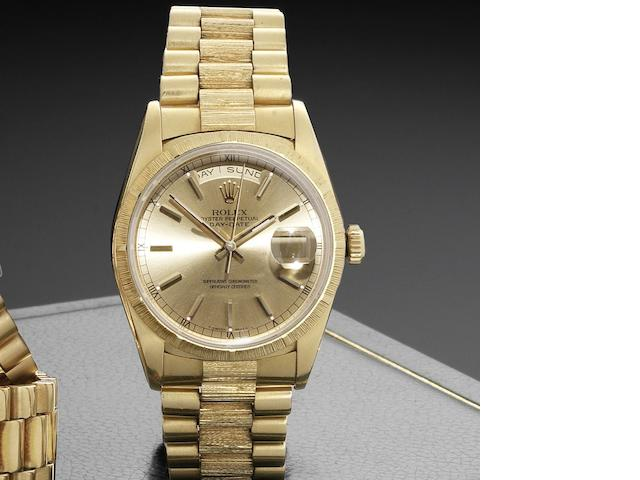 Rolex. An 18ct gold automatic calendar bracelet watch with box and papers Day-Date, Ref:18248, Serial No.W286***, Movement No.7741436, Sold 15th August 1998