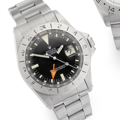 Rolex. A fine stainless steel centre seconds automatic wristwatch with special 24-hour bezel and orange hand Explorer II, Ref:1655, Serial No.535****, Circa 1978