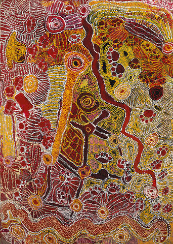 Wimmitji Tjapangarti (c. 1925-2000) Dingo and Rainbow Snake Dreaming 1990