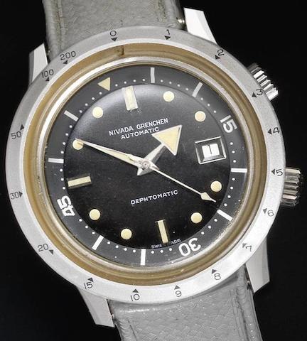 Nivada Grenchen. An unsual stainless steel automatic Divers watch  Dephomatic, Circa 1960