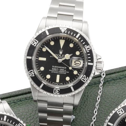 Rolex. A stainless steel automatic calendar bracelet watch with box and papers Submariner, Ref:1680, Serial No.549****, Circa 1978
