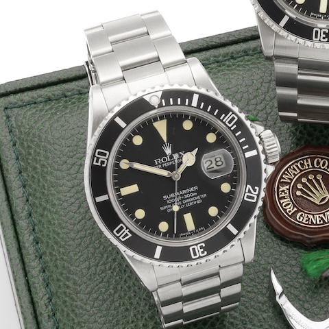 Rolex. A stainless steel automatic calendar bracelet watch with box and papers Submariner, Ref:16800, Serial No.7162** Circa 1982