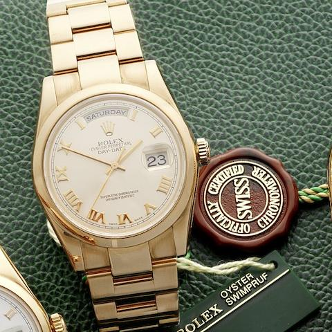Rolex. A fine 18ct rose gold automatic calendar bracelet watchDay-Date, Ref:118205, Serial No.Y240***, Sold 26th September 2004