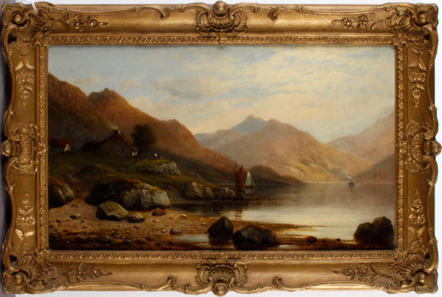 Follower of Edward Charles Williams (British, 1807-1881) The croft by the loch,