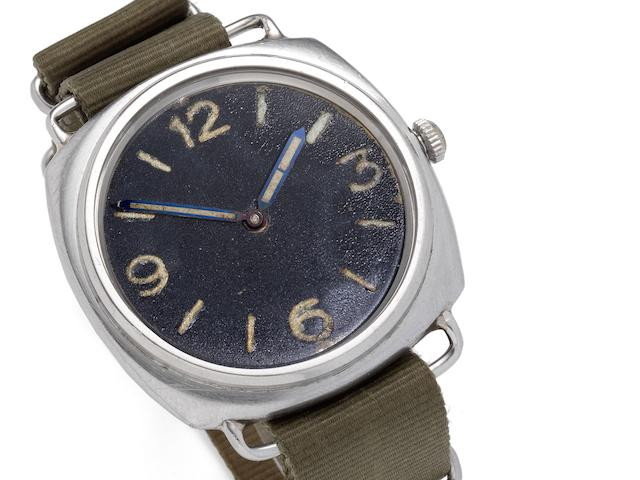Rolex. A rare stainless steel cushion shape military divers wristwatch made for the German NavyRef:3646, Case No.260739, Circa 1940