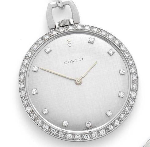 Corum. A mid 20th century 18ct white gold keyless wind lapel watchCase No.8027/4, Movement No.52537, Circa 1960