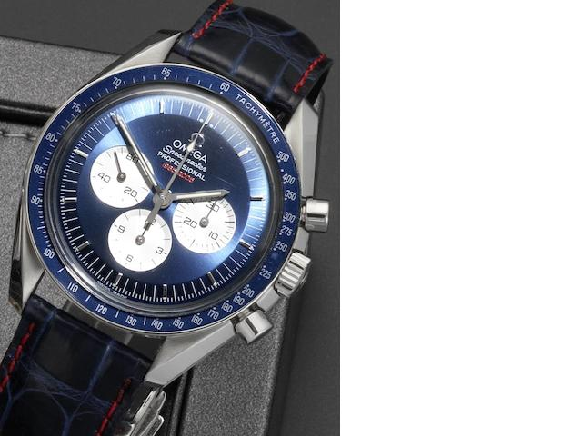 Omega. A limited edition stainless steel manual wind chronograph wristwatch with box and papers  Speedmaster Professional Gemini 4 40th Anniversary, 0404/2005, Case No.77410583, Sold October 22 2005