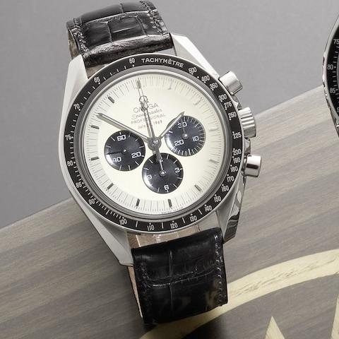 Omega. A limited edition stainless steel manual wind chronograph wristwatchSpeedmaster Professional Apollo II 35th Anniversary, 0898/3500, No.77121757, Sold 19th September 2005
