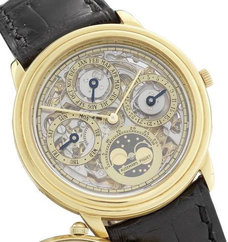 Audemars Piguet. An 18ct gold automatic skeletonised perpetual calendar wristwatch with phases of the moon Quantième Perpétuel Automatique Squelette, Ref:C71703, No.190, Circa 1995
