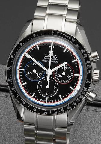 Omega. A stainless steel chronograph bracelet watch with box and papers Speedmaster Professional, Apollo 15, 1393/1971, Case No.77765850, Sold 11 October 2011
