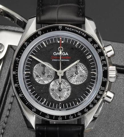 Omega. A stainless steel manual wind chronograph wristwatch Speedmaster Professional Apollo-Soyuz 35th Anniversary, 0726/1975, Case No.77746390, Sold 14th August 2010