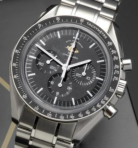 Omega. A limited edition stainless steel manual wind chronograph wristwatchSpeedmaster Professional 1957 50th Anniversary, 1926/5957, Ref:145.0301, Case and Movement No.77188903, Sold 10th August 2009