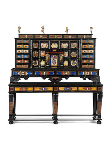 An important Roman 17th century ormolu and pietre dure mounted ebony cabinet