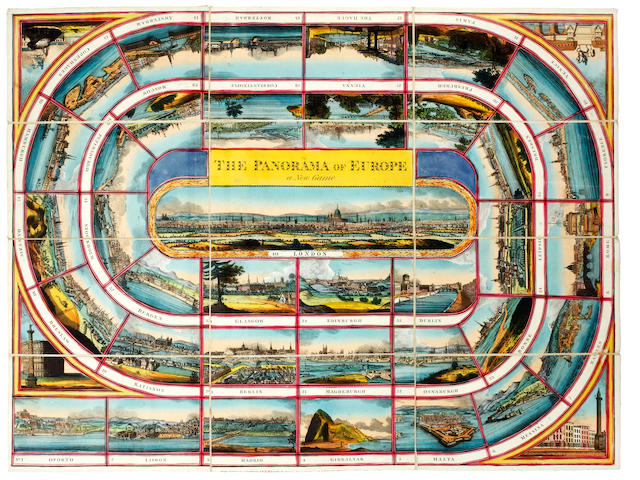 MAP GAME The Panorama of Europe. A New Game, Wallis, 1815