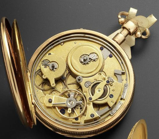 Swiss. An early 19th century gold key wind quarter repeating open face pocket watch Circa 1830