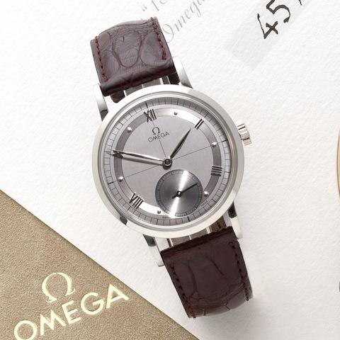 Omega. A platinum manual wind wristwatch together with fitted presentation box'1894', No. 45/100, Recent