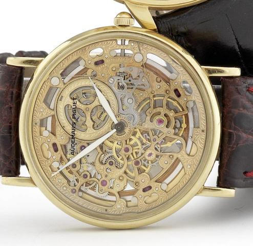 Audemars Piguet. A fine 18ct gold automatic skeletonised wristwatchRef: BA14261.0.002, Sold 1st February 1991