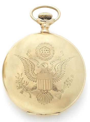 Waltham. A very rare 14ct gold keyless wind full hunter pocket watch gifted from Woodrow Wilson, the 28th President of the United States, to the Captain of the British Tug Boat, Champion, in 1919 Riverside Maximus, Movement No.6071142