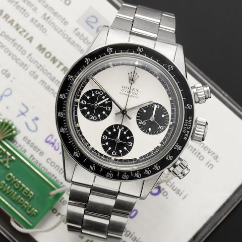 Rolex. A fine and rare stainless steel manual wind chronograph wristwatch together with fitted box and original guarantee bookletRef:6263/6239, Serial No.265****, Sold 2nd August 1973