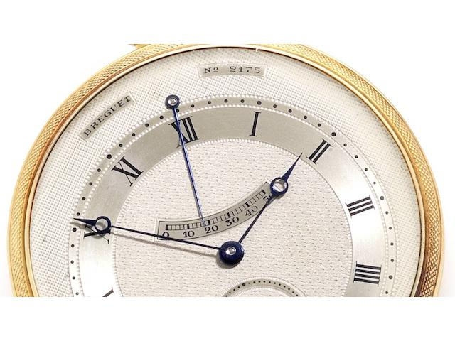 Breguet. A fine and rare 18ct gold open face automatic pocket watch with power reserve, made for the Designer and Illustrator, Paul Iribe, together with Breguet Extract from Archives stating the watch was sold to him for the sum of 10,800 francs No.2175, Sold 22nd December 1933