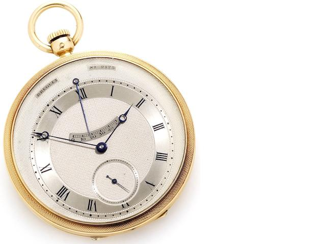 Breguet. A fine and rare 18ct gold open face automatic pocket watch with power reserve, made for the Designer and Illustrator, Paul Iribe, together with Breguet Extract from Archives stating the watch was sold to him for the sum of 10,800 francsNo.2175, Sold 22nd December 1933