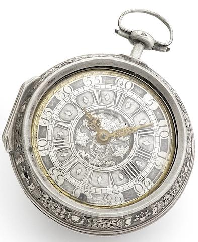 John May, London. An early 18th century silver repoussé pair case repeating pocket watch Circa 1720