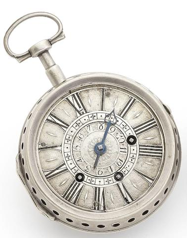 R. Rengger. An early 18th century silver pair case alarm pocket watch Circa 1700