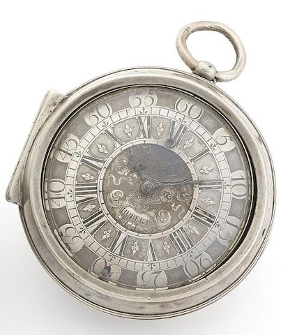 James Hubert, London. A fine early 18th century silver pair case watch with blued steel regulation within the dialCirca 1710
