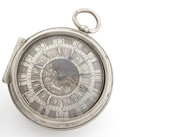 James Hubert, London. A fine early 18th century silver pair case watch with blued steel regulation within the dial Circa 1710