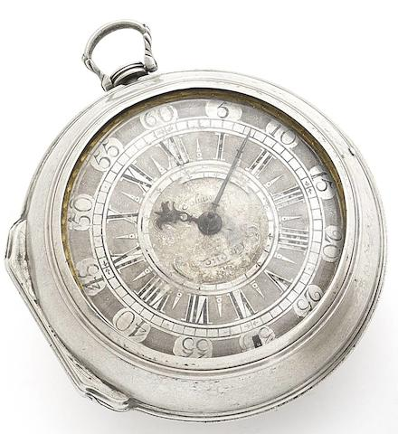 Micheal Johnson, London. An early 18th century silver pair case pocket watch Circa 1700