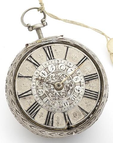 Joseph Duke(I). A fine late 17th century silver pair case alarm pocket watch with matched earlier case1685/1690