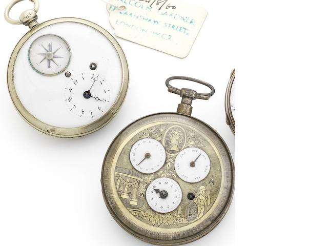 A lot of two early 19th century Swiss silver open face key wind pocket watches