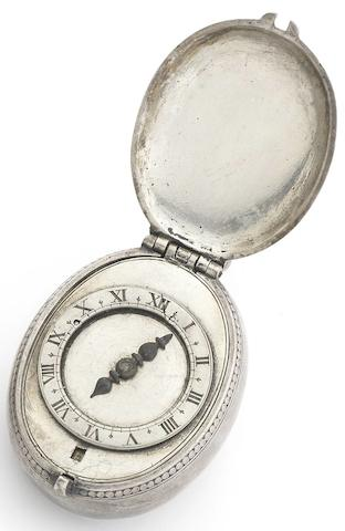 Thomas Alcocke. A rare early 17th century silver puritan oval pocket watch Circa 1630
